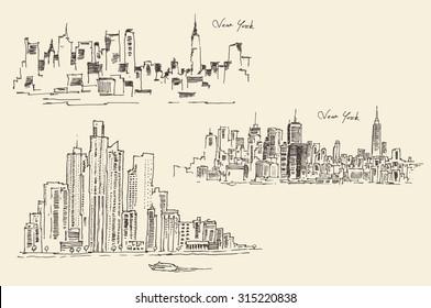 Set of sketches of New York, vintage engraved illustration, hand drawn