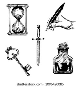 A set of sketches of objects. A dagger, a key, a jar, an hourglass, a hand with a feather. Alchemic objects,