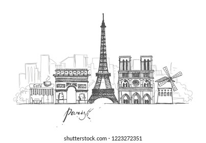 A set of sketches on the theme of Paris in retro style. Abstract cityscape with landmarks