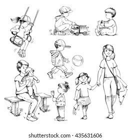 Set sketches on white background: kids,  preschoolers. Childhood, children's playground, outdoor play. Drawing by hand. Vintage style