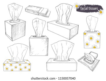 A set of sketches of tissue boxes . Facial tissues, wet wipes and paper handkerchiefs. Hand-drawn vector illustration. Isolated objects on white background.