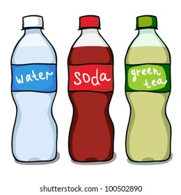 Set sketches of water, soda and green tea bottles. Vector Illustration