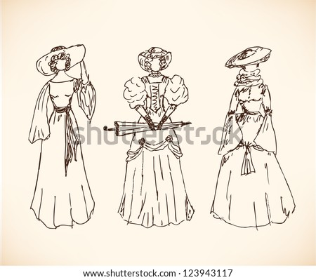 Set with sketches of women in historical clothes ladies in vintage dresses  retro collection jpg 450x399 5009a928d147