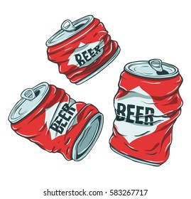 Set of sketchy crumpled beer cans. Vector crushed red aluminum alcohol beverage cans illustration.