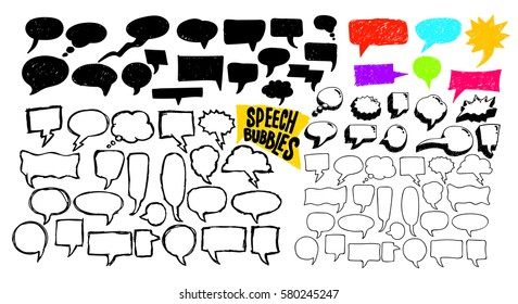 Set of sketchy hand drawn speech bubbles. Vector illustration. Isolated on white background. Freehand drawing.