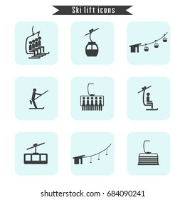 Set of ski cable lift icons for ski and winter sports. Design for tourist catalog, maps of the ski slopes, placard, brochure, flyer, booklet. Vector illustration.