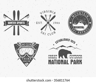 Set of Ski Club, Patrol Labels. Vintage Mountain winter camp explorer badges. Outdoor adventure logo design. Travel hand drawn and hipster insignia. Snowboard icon symbol. Wilderness. Vector.