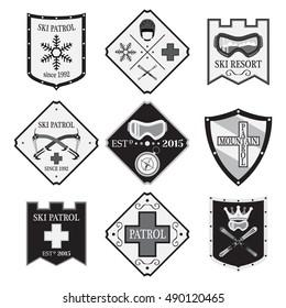 Set of ski logos, ski patrol, rental in flat style. Mountain first aid illustration.