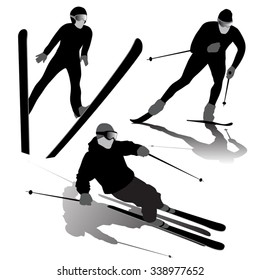 Set of ski silhouettes on the white background. Vector illustration