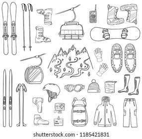 8bbea38e Set of ski and snowboard hand-drawn icons isolated on white background.  Doodle sport