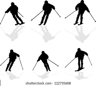 set of ski vector