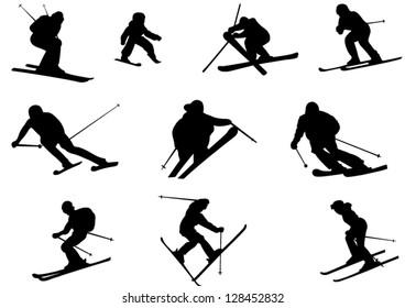 Set of Ski Vector Silhouettes