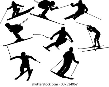 The set of skier silhouette