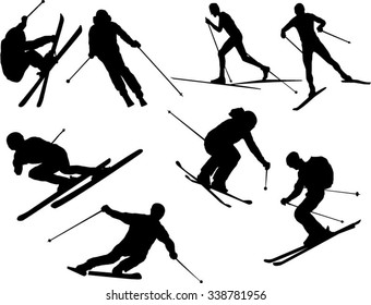 Set of skier silhouettes