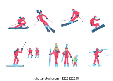Set of Skiers and snowboarder isolated on white background. Vector illustration eps 10