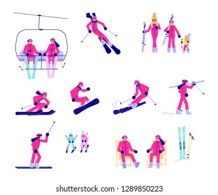 Set of Skiers and snowboarder isolated on white background. Vector illustration eps