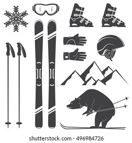 Set of skiing equipment silhouette icons. Set include skis, mountain, bear, gloves, goggles, helmet and snowflake. Winter equipment icons for family vacation, activity or travel.
