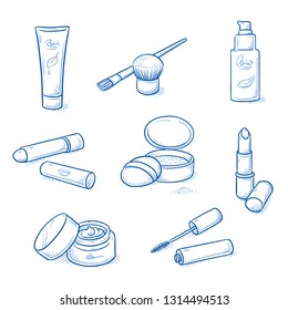Set of skin care and cosmetic objects: moisture cream, anti age lotion, powder, lip stick, mascara and brushes. Hand drawn blue line art cartoon vector illustration.