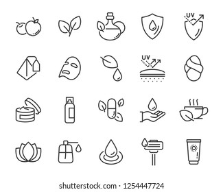 set of skincare line icons, facial sun block icon, facial mask
