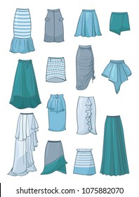 Set of skirts with asymmetry and folds,in grey, blue,turquoise and white colours, isolated on white backgroud