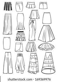 Set of skirts isolated on white background