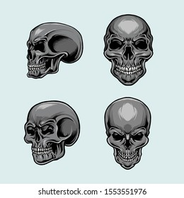 Set of skull anatomically correct handdrawn style