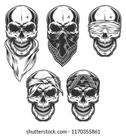 Set of skull in bandanas. Vector illustraiton