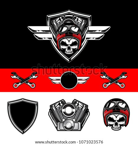 set of skull biker