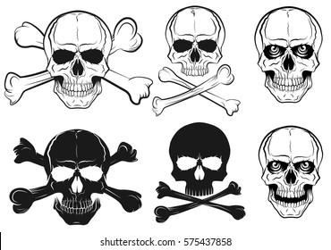 set of skull with bones, black in white background, vector illustration