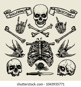 Set of skull and bones in hand drawing style