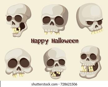 Set of Skull cartoon vector Halloween on Background.Vector illustration.