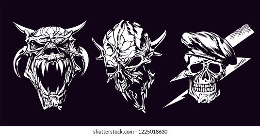 Set of Skull Characters Isolated on Black Background. Vector Illustration,