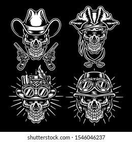 Set of skull characters, Isolated on dark background