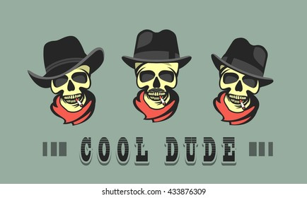 set skull in different hats retro cool dude