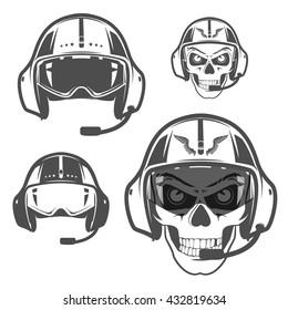 Set of Skull fly helmet,helicopter helmet.