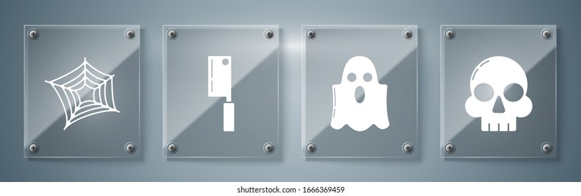 Set Skull , Ghost , Meat chopper  and Spider web . Square glass panels. Vector