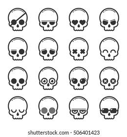 Set of skull heads cartoon