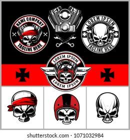 set of skull with helmet, v-twin engine harley davidson and wrench emblem or badge vector logo template