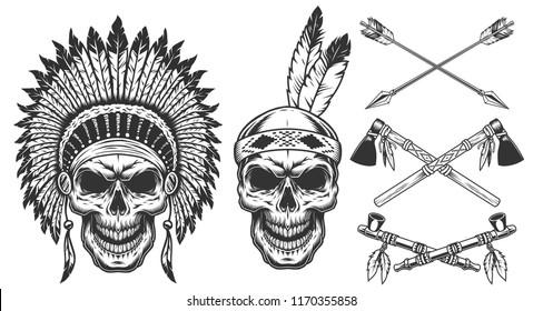 Set of skull in indian headwear. Vector illustraiton