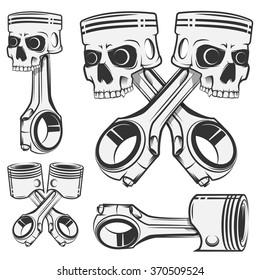 Set of skull piston for emblems,design tattoo,labels