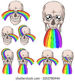 Set. Skull and rainbow