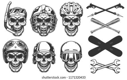 Set of skull in sport equipment. Vector illustraiton