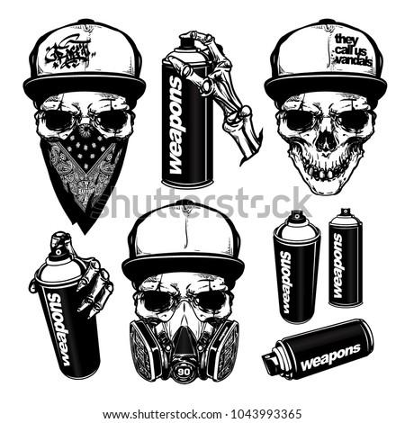set skull spray paint graffiti illustration stock vector royalty