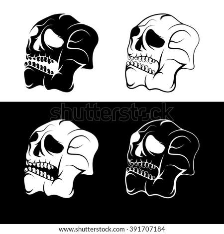 set skulls abstract vector design template stock vector royalty