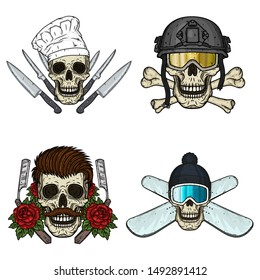 Set of skulls. Chef, soldier, hipster and snowboarder