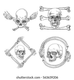 Set of Skulls crossbones, made of hands with gestures or in the frame made of hands bones. Occult witchcraft magic portrait of the dead human head. Handmade detailed drawing. Vector illustration.