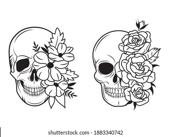 Set of skulls with flowers. Collection of human skull portrait with floral wreath. Vector illustration isolated on white background.