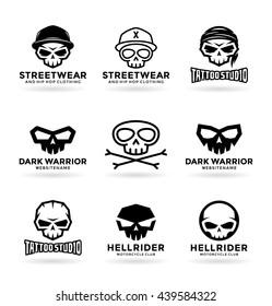 Set of skulls and logo design elements (5)