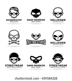 Set of skulls and logo design elements (4)
