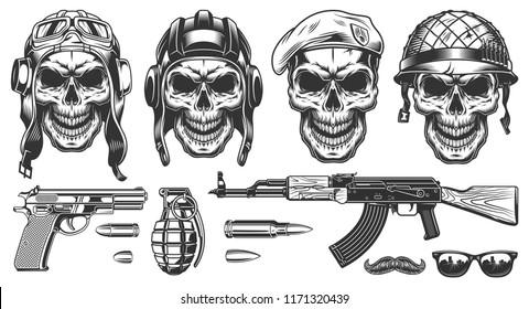 Set of skulls in military headwear. Vector illustraiton